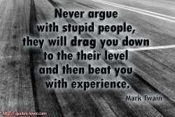 Mark Twain quote Never argue with stupid people, they will drag you down to the their level and then beat you with experience