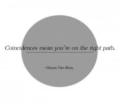 Simon Van booy quote Coincidences mean you're on the right path