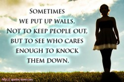 Sometimes we put up walls. Not to keep people out, but to see who cares enough to knock them down