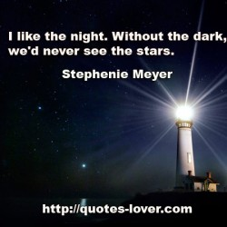 I like the night  Without the dark  we'd never see the stars