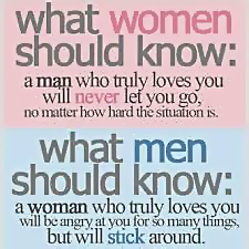 What women should know a man who truly loves you will never let you go, no matter how hard the situation is. What men should know a woman who truly loves you will be angry at you for so many things, but will stick around