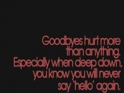 Goodbyes hurt more than anything. Especially when deep down, you know you will never say hello again