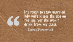 It's tough to stay married. My wife kisses the dog on the lips, yet she won't drink from my glass