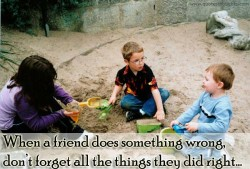 When a friend does something wrong, don't forget all the things they did right
