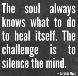 The soul always knows what to do to heal itself. The challnge is to silence the mind