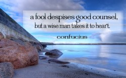 A fool despises good counsel but a wise man takes it to heart Confucius quote