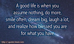 A good life is when you assume nothing, do more, need less, smile often, dream big, laugh a lot and realize how blessed you are for what you have