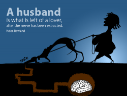 A husband is what is left of a lover after the nerve has been extracted