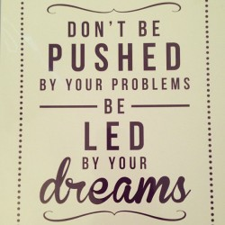 Don't be pushed by your problems be led by your dreams