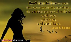 Don't fear failure so much that you refuse to try new things. The saddest summary of a life is could have, might have, and should have.Louis E. Boone quotes