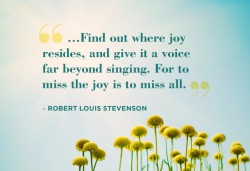 Find out where joy resides, and give it a voice far beyong singing. For to miss the joy is to miss all Rober Louis Stevenson