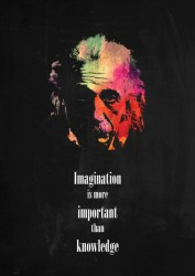 Imagination is more important than knowledge - picture quote by Albert Einstein