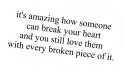 It's amazing how someone can break your heart and you still love them with every broken piece of it