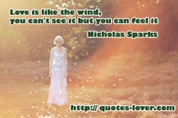 Love is like the wind, you can't see it but you can feel it