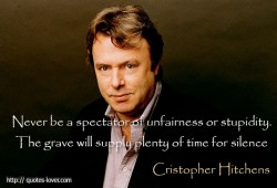 Never be a spectator of unfairness or stupidity. The grave will supply plenty of time for silence - picture quote by Cristopher Hitchens