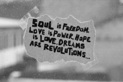 Soul is freedom, love is power, hope is love. Dreams are revolutions