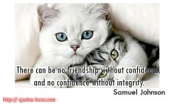 There can be no friendship without confidence, and no confidence without integrity.Samuel Johnson quotes