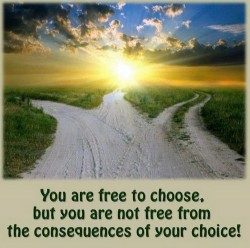 You are free to choose, but you are not free from the consequences of your choice!