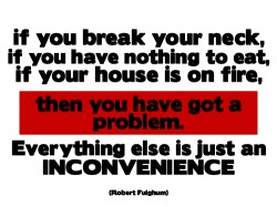 if you break your neck, if you have nothing to eat, if your house is on fire, then you have got a problem. Everything else is just an incovenience - quote by Robert Fulghum