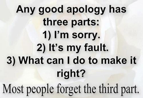 Any good apology has three parts: 1) I'm sorry. 2) It's my fault. 3) What can I do to make it right? Most people forget the third part.