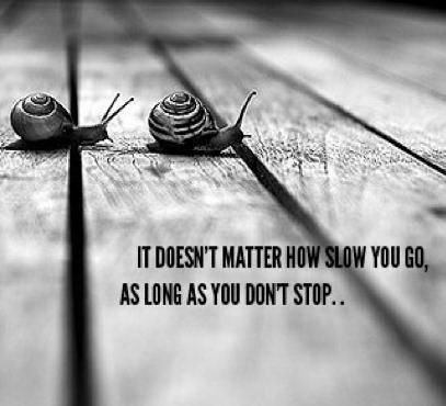 It does not matter how slowly you go, so long as you don't stop.