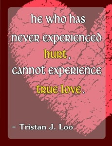 He who has never experienced hurt cannot experience true love.