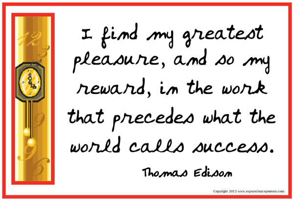 I find my greatest pleasure, and so my reward, in the work that preceds what the world calls success.