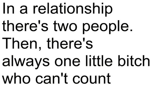 In a relationship there's two people. Then, there's always one little bitch who can't count.