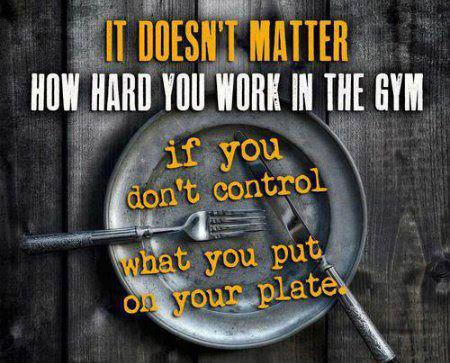 It doesn't matter how hard you work in the gym if you don't control what you put on your plate.