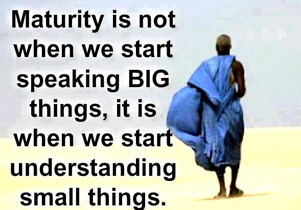 Maturity is not when we start speaking big things, it is when we start understanding small things.