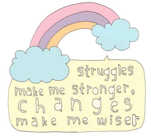 Struggles make me stronger, changes make me wiser.