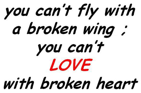 You can't fly with a broken wing, you can't love with broken heart.