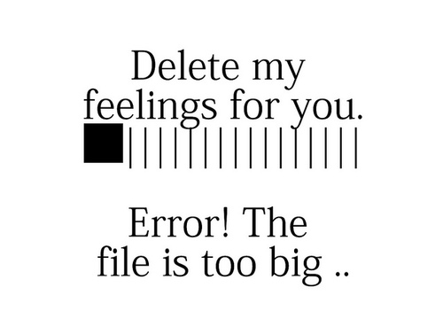 Delete my feelings for you.  Error.The file is too big.