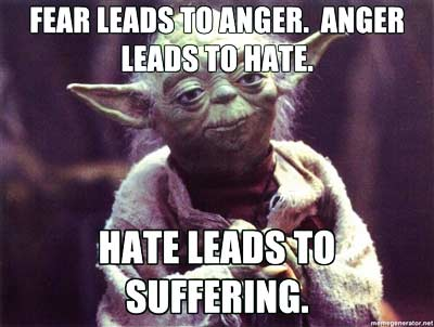 Fear leads to anger, anger leads to hate. Hate leads to suffering.