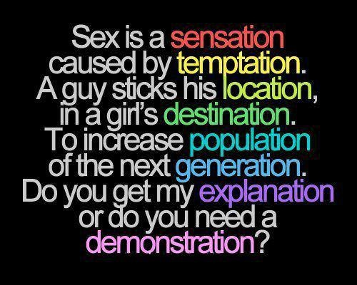 Sex is a sensation caused by temptation. A guy sticks his location in a girl's destination. To increase population of the next generation. Do you get my explanation or do you need a demonstration.