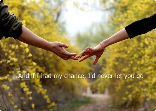 And if I had my chance, I'd never let you go.