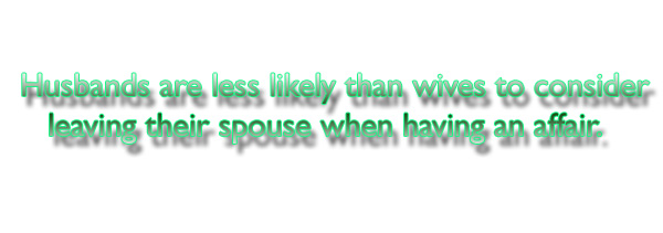 Husbands are less likely than wives to consider leaving their spouse when having an affair.