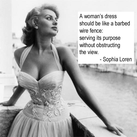 A woman's dress should be like a barbed wire fence serving its purpose without obstructing the view.