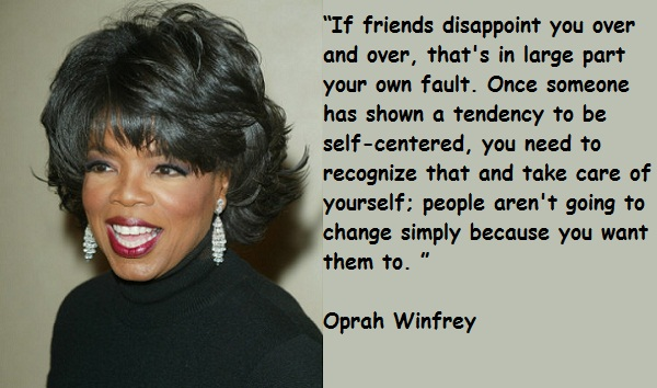 If friends disappoint you over and over that's in large part your own fault. Once someone has shown a tendency to be self-centered, you need to recognize that and take care of  yourself, people aren't going to change simply because you want them to.
