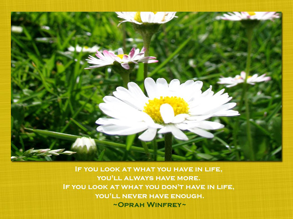 If you look at what you have in life, you'll always have more. If you look at what you don't have in life you'll never have enough.