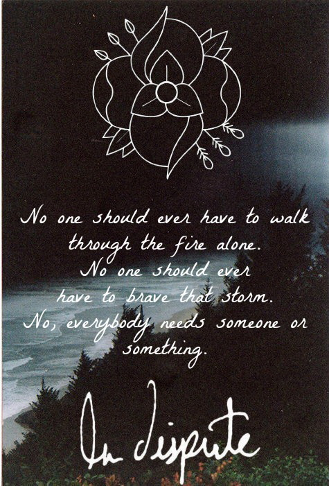 No one should ever have to walk through the fire alone. No one should ever have to be brave that storm. No, everybody needs someone or something.