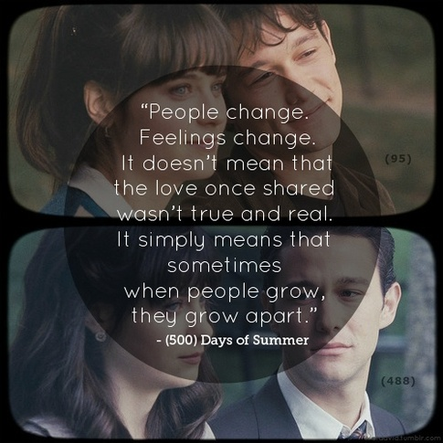 People change. Feelings change. It doesn't mean that love once shared wasn't trur and real. It simply means that sometimes when people grow they grow apart.