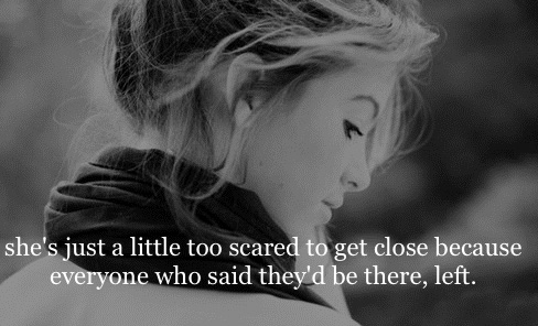 She's just a little too scared to get close because everyone who said they'd be there, left.