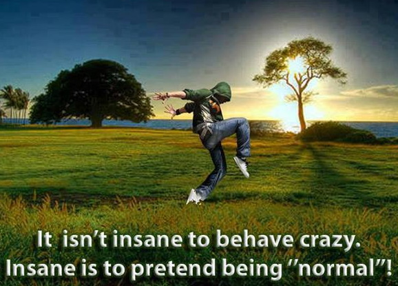 It isn't insane to behave crazy. Insane is to pretend being normal.