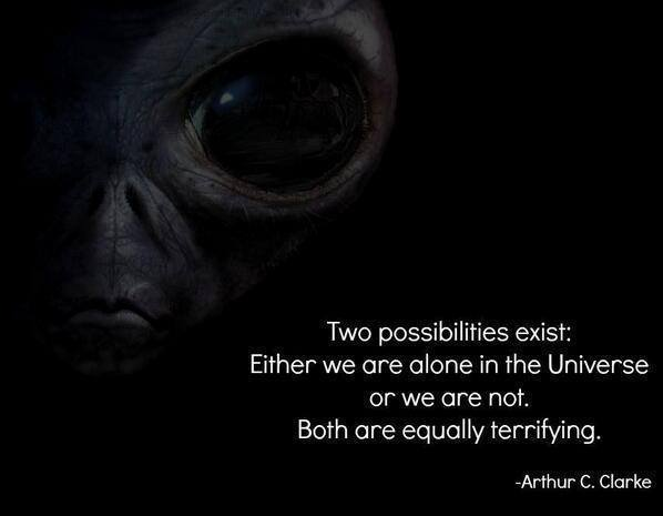 Either we are alone in the Universe or we are not both are equally terrifying.