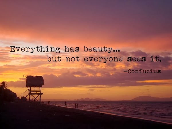 Everything has beauty but not everyone sees it.