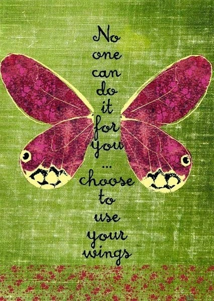 No one can do it for you choose to use your wings.