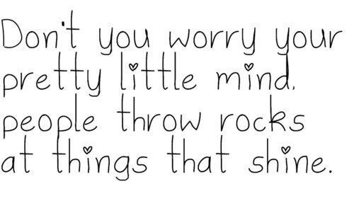 Don't you worry your pretty little mind. People throw rocks at things that shine.