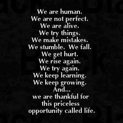 We are human. We are not perfect. We are alive. We try things. We make mistakes. We stumble. We fall. We get hurt. We rise again. We try again. We keep learning. We keep growing. And..we are thankful for this priceless opportunity called life.