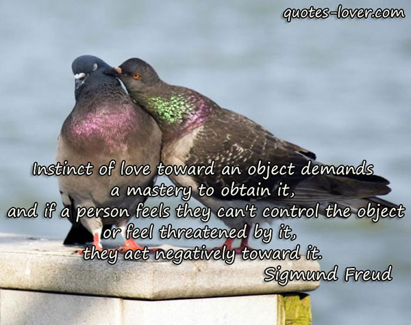 Instinct of love toward an object demands a mastery to obtain it, and if a person feels they can't control the object or feel threatened by it, they act negatively toward it.